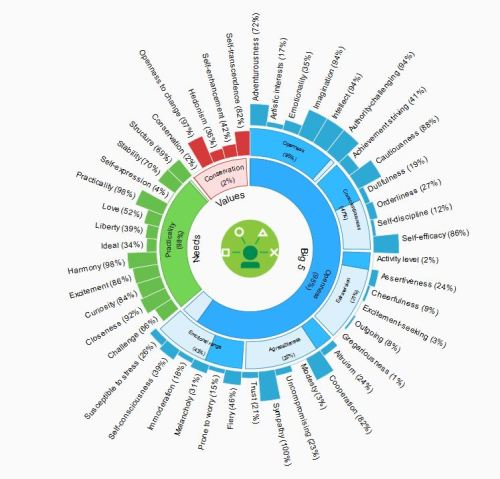 The 50ish traits analysed by Personality Insights.